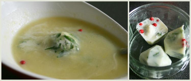 soupe de poireaux glaçons