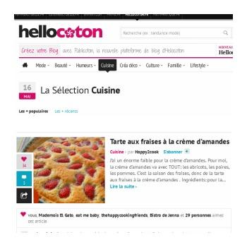 Hello coton tarte aux fraises