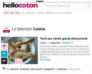 Hello coton tarte aux navets