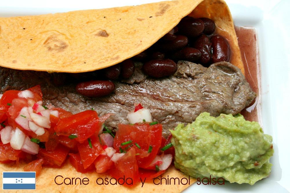 Carne asada chimol salsa