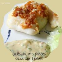 Joues de lotte panées au parmesan et sauce aux herbes