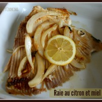 Raie caramélisée au miel et au citron