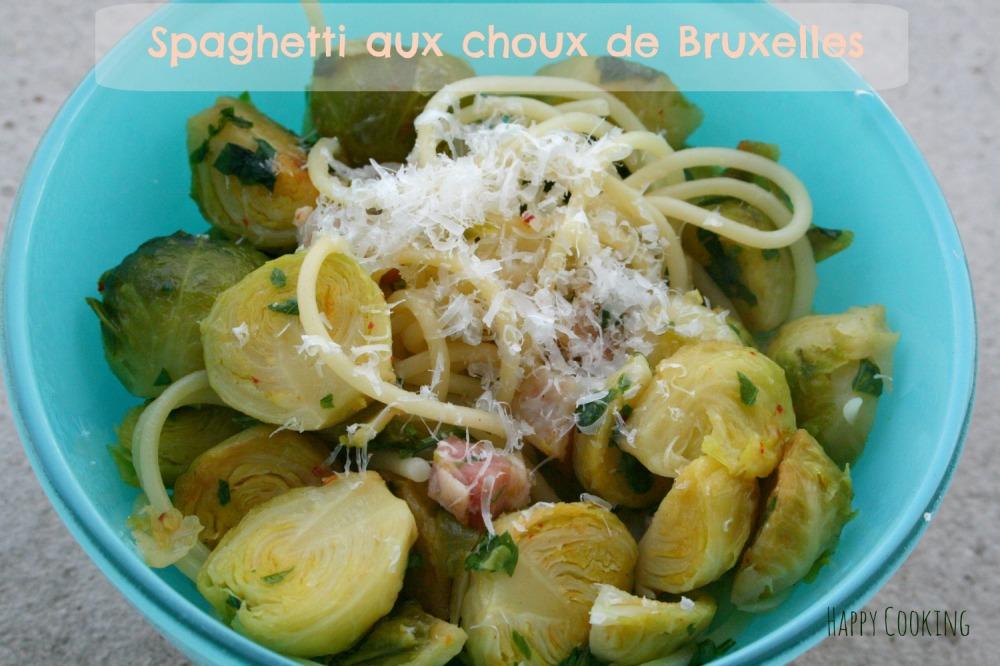 Spaghetti carbo aux choux de bruxelles
