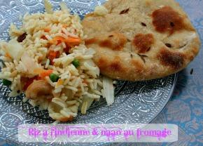 Naan au fromage et riz à l'indienne